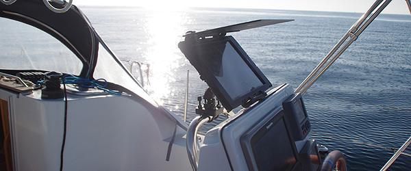 iPad at helm sailboat